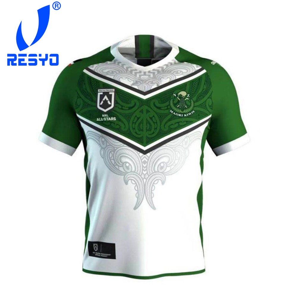 RESYO For Maori All Stars 2019 Men's Replica Home Jersey Rugby Jersey Sport Shirt Size:S-3XL Free Shipping