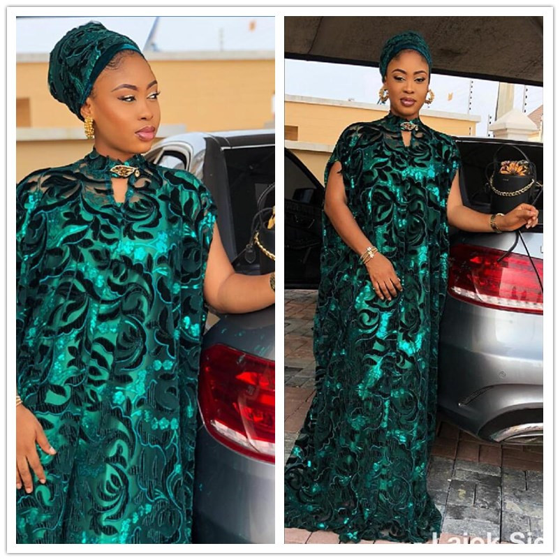 2019 Latest Style Green High Quality African Velvet Lace Fabric With Sequins Nigerian Lace Fabrics For