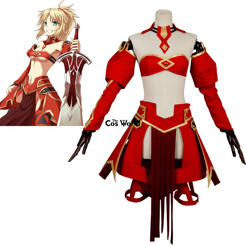 Fate Apocrypha Red Saber Mordred Boob Tube Tops Dress Uniform Outfit Anime Cosplay Costumes