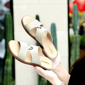 Image 5 - DONGNANFENG Women Mother Female Ladies Solid Shoes Sandals Cow Genuine Leather PU Beach Summer Slip On Casual Size 35 41 XLZ 223
