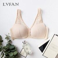 LVFAN Women Sexy Silk Bra Summer Ultra Thin Breathable Bra Gather Transparent Mesh Stitching Underwear Wire Free Bra