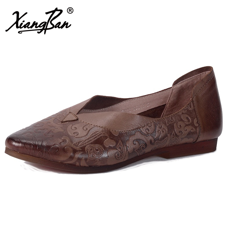 Xiangban Handmade Women Flats Casual Leather Pointed Toe Ladies Ballet Flats Women Oxford Shoes