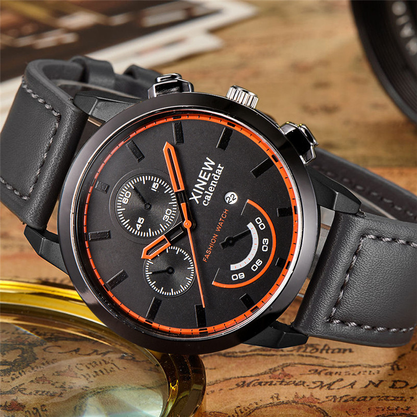 2017 NEW NEW Watch Men Relogio Masculin Vintage Classic Mens Waterproof Date Leather Strap Sport Quartz Army Watch #0322 watch men vintage classic men s waterproof date leather strap sport quartz army watch reloj hombre clock gift drop shipping