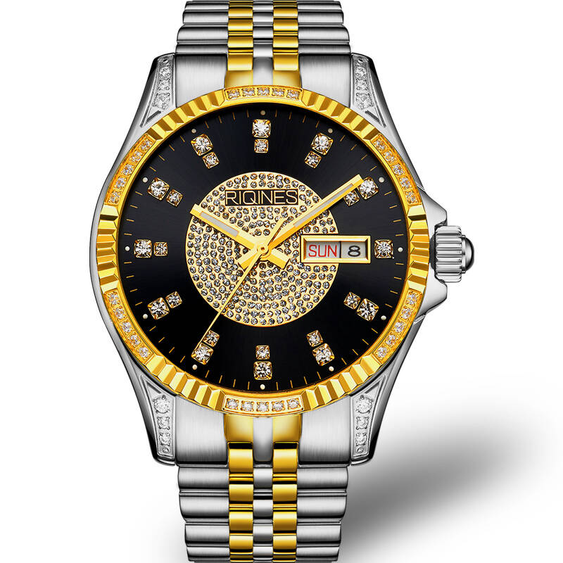 цены RIQINES dayjust Austrian diamond watch automatic mechanical week calendar luminous men's watches genuine sapphire wristwatch