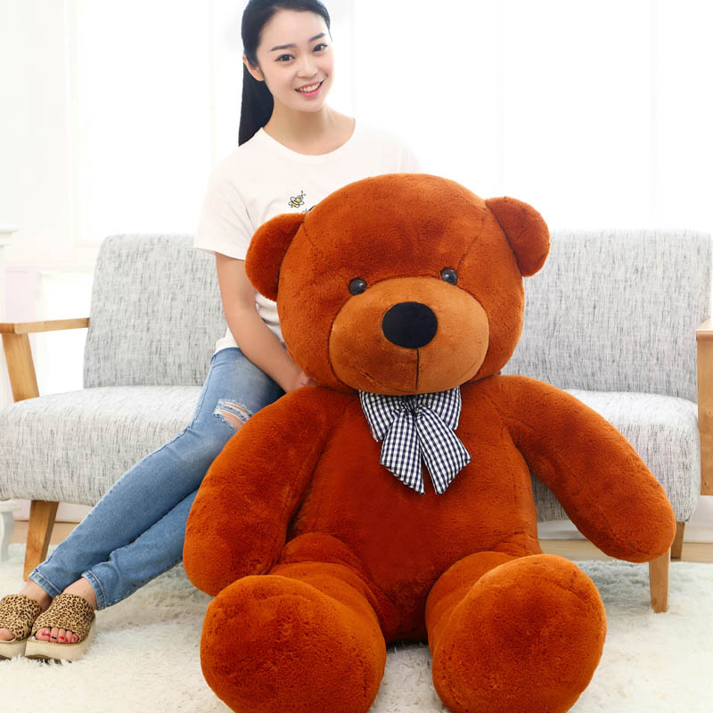 big bow round eyes dark brown teddy bear toy huge bear doll gift about 180cm