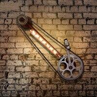 Кованая Железная настенная лампа Лофт старинная водопроводная труба редуктор велосипедная цепь