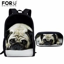 FORUDESIGNS Satchel School Bags Pug Dog School Polyester Sat