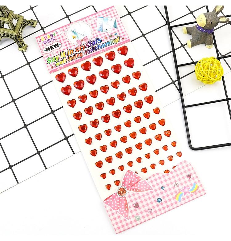 Детские игрушки наклейка в форме сердца DIY Наклейка мобильного искусства Кристалл бриллиант Стразы самоклеющиеся Скрапбукинг Стикеры s GYH - Цвет: Red