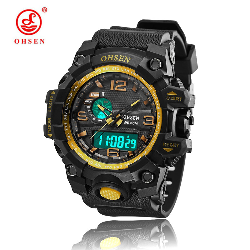 Sports Waterproof Men Watch 2018 OHSEN Top Brand Luxury Military Rubber Band LED Digtal Quartz Watches Clock relogio masculino ohsen watches brand new luxury men swimming digital led quartz watch outdoor sports watches military waterproof man clock rubber