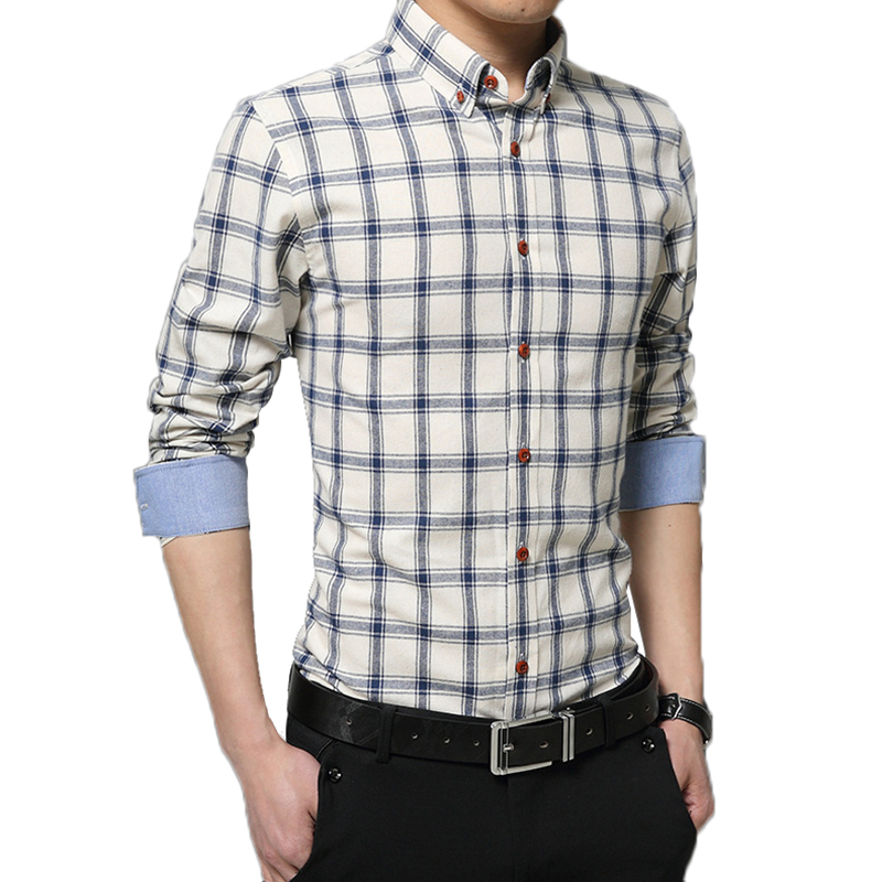382d2eaaee9 Plus Size M 5XL Blue Green Red Khaki England Plaid Men Business Formal  Shirts Long Sleeve French Cuff Male Man Casual Shirt Slim-in Casual Shirts  from Men's ...