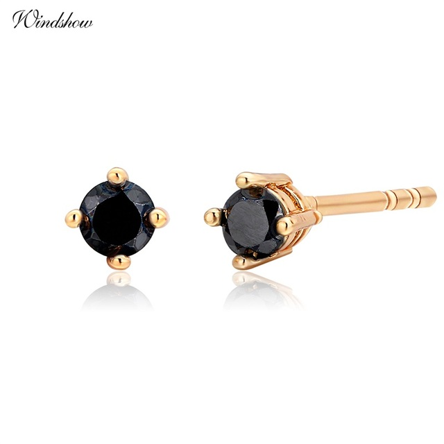 Cute Yellow Gold Color Four Claw Round Black Cz Mini Small Stud Earrings For Womens Kids