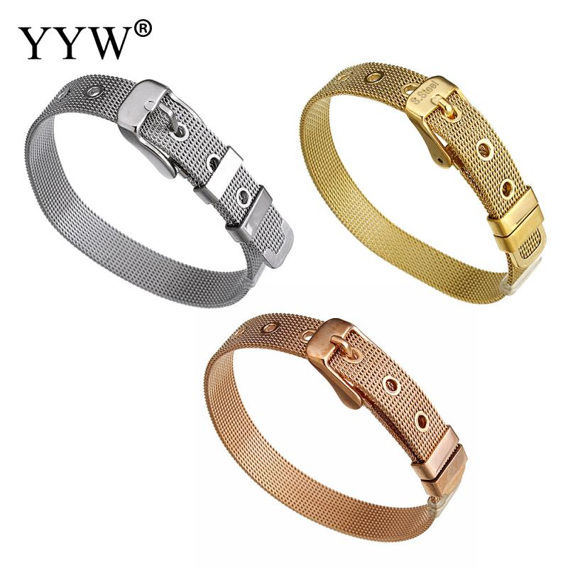 YYW Hot Sale Punk Hip Hop Rose Gold/Silver-color Stainless Steel Jewelry Mesh Cord Adjustable Wrap Bracelets Bangles Women Male