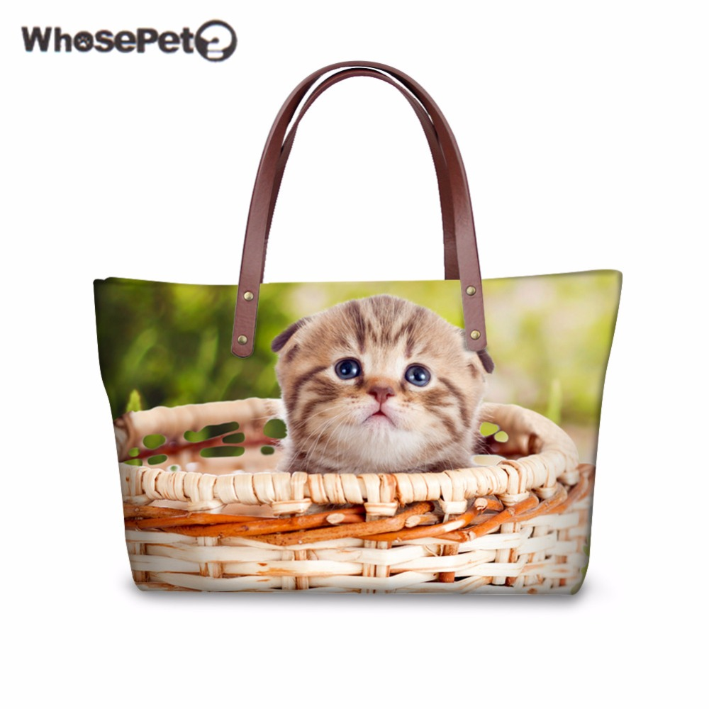 WHOSEPET Tote Handbags Luxury for Women Bags Designer Playing Cute Cats Dogs 3D Printing Handbag Large