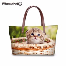 WHOSEPET Tote Handbags Luxury for Women Bags Designer Playing Cute Cats&Dogs 3D Printing Handbag Large Nylon Waterproof Tote Bag