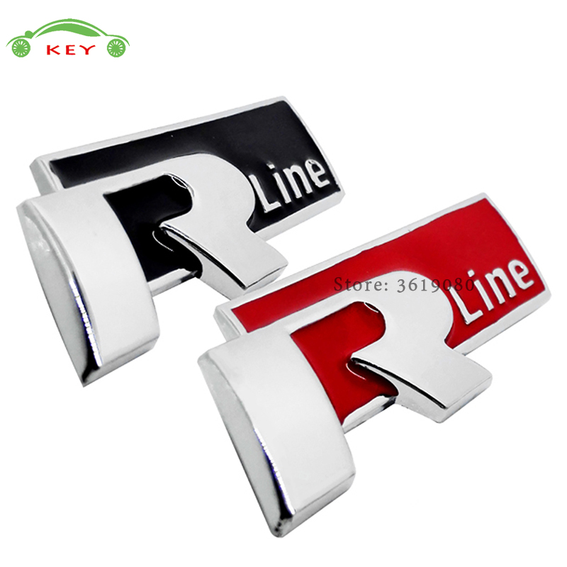 Car Styling Car Sticker Metal Decal for Rline Logo Auto Emblem Badge for Volkswagen VW polo passat golf 7 sharan Lavida Sagitar auto car trucks chrome letter triton badge emblem sticker for mitsubishi triton 200 logo car styling