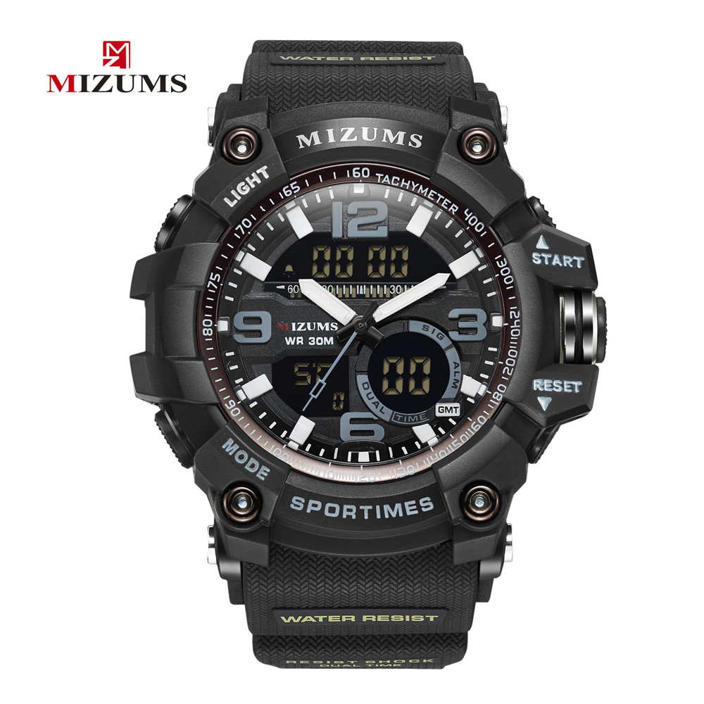 Mizums Sports Men Watch Waterproof Fashion Quartz Watch Man LED Digital 2 Times Male Clock S Shock Chronograph Mens Watches XFCS