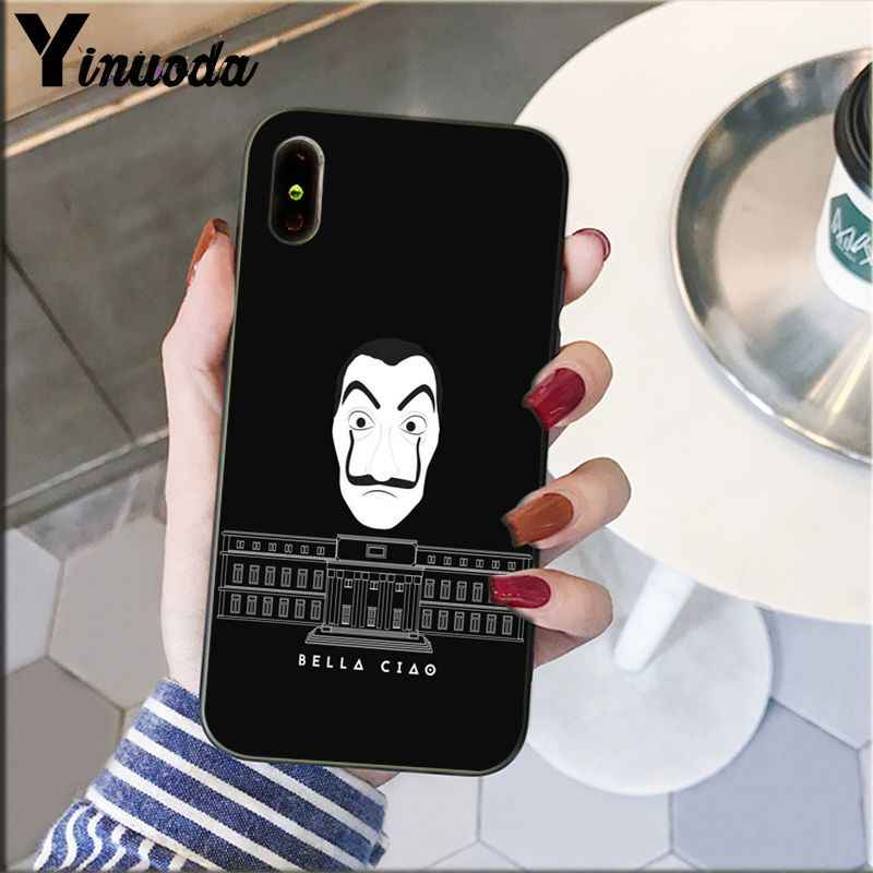 Yinuoda Spain TV La Casa de pape Black TPU Soft Silicone Phone Case Cover for iPhone X XS MAX  6 6s 7 7plus 8 8Plus 5 5S SE XR