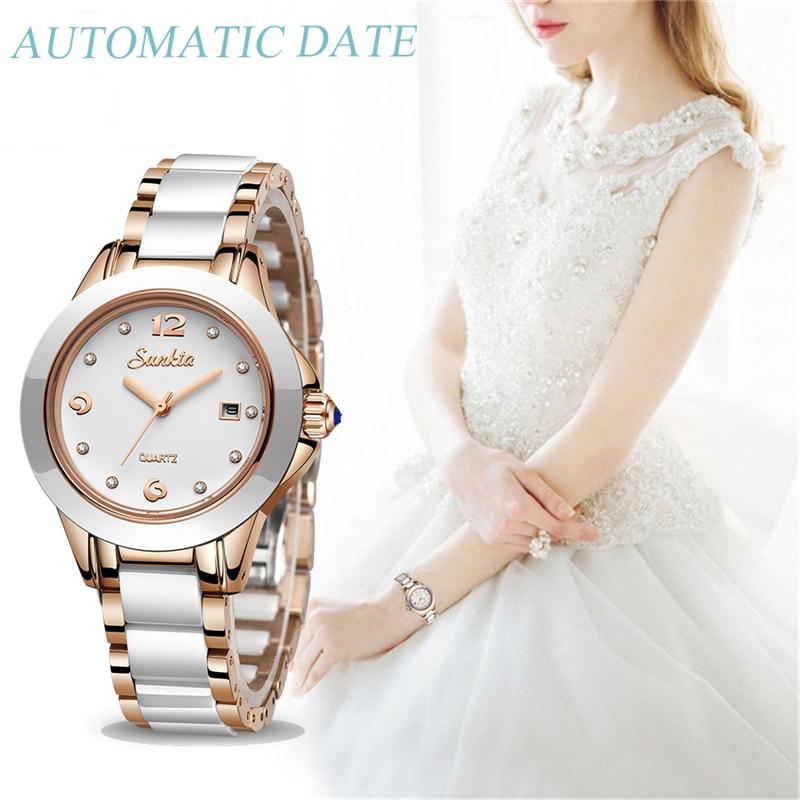 Top montres de luxe en or Rose pour femmes SUNKTA2019 nouvelles dames Ultra-mince horloge mode Boutique fille montre Senhoras Assistir