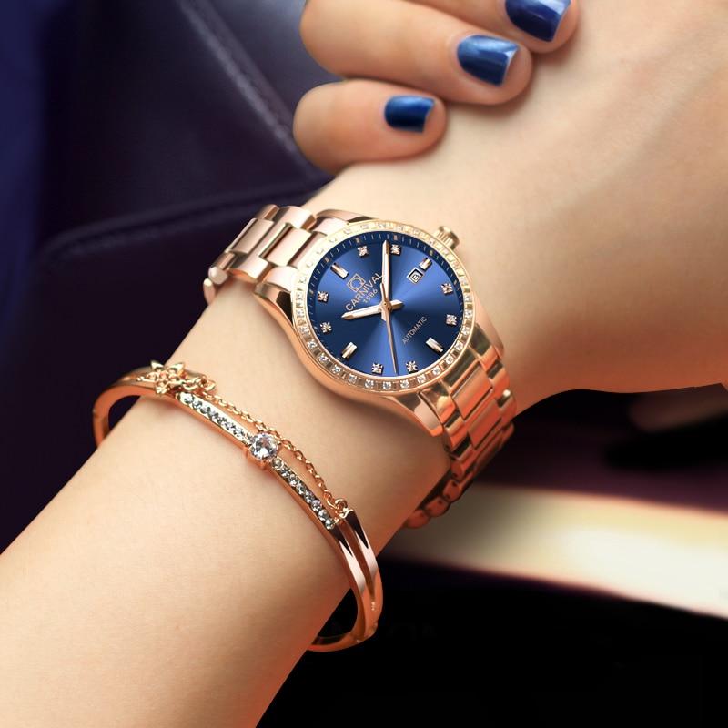Femmes automatique mécanique montre dames de luxe saphir bleu cadran fille robe entreprise horloge de mode marques Auto Date Relogio