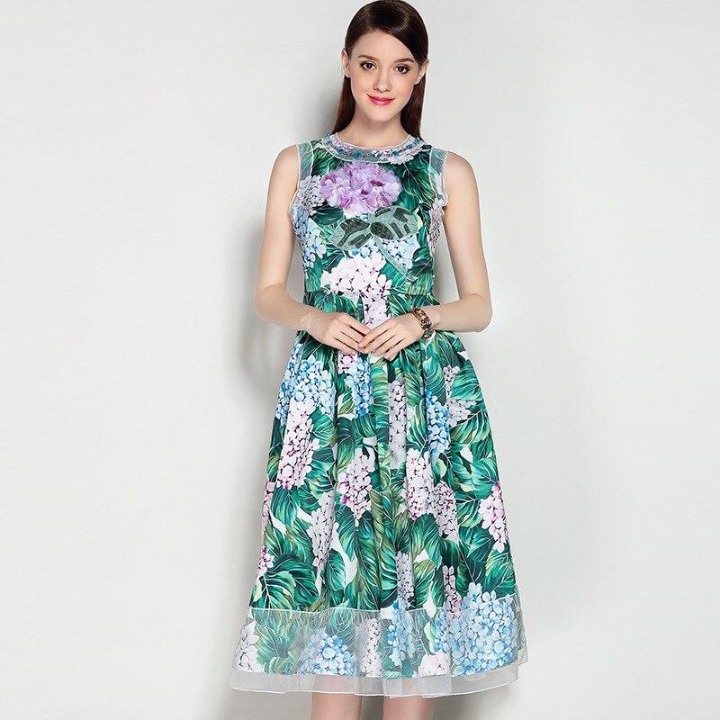 Nouvelle Style De Sans Mode Manches 2017 Réservoir cou Femmes Fleurs Élégant Été longueur Imprimer Genou D'o Dress Arrivée Dernières Europe IwdqC4I