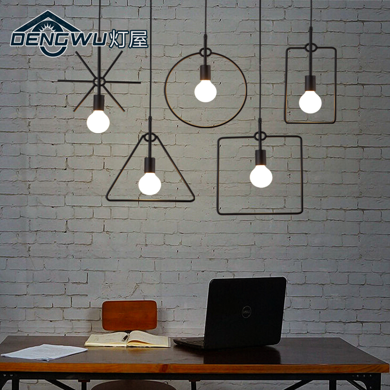 house loft retro office chandelier Cafe Americano hall lamp iron industrial wind persona ...