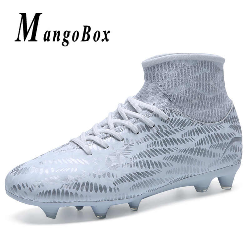 776f603d943 ... Top Quality Football Men Sock Boots Pu Leather Mens Soccer Trainers Kids  High Ankle Soccer Shoes ...