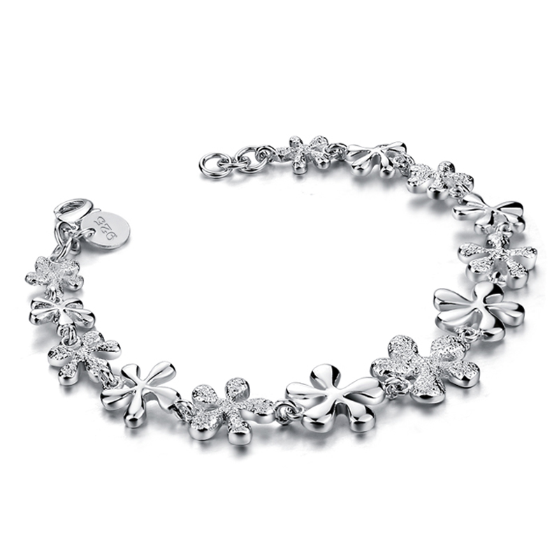 Fashion beautiful silver flower bracelet solid 925 silver charm woman bracelet wholesale brand silver jewelry birthday gift