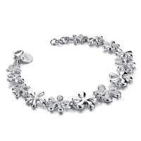 Moda hermosa plata pulsera de flores sólido 925 de plata del encanto pulsera de mujer de marca al por mayor de joyería de plata regalo de cumpleaños