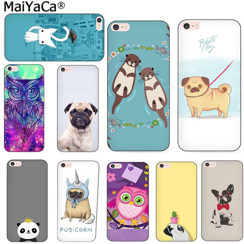 MaiYaCa Otters Holding Hands pug animal owl phone case cover For iPhone 4s 5s 6s 7 plus 8 8plus X case phone bags funda
