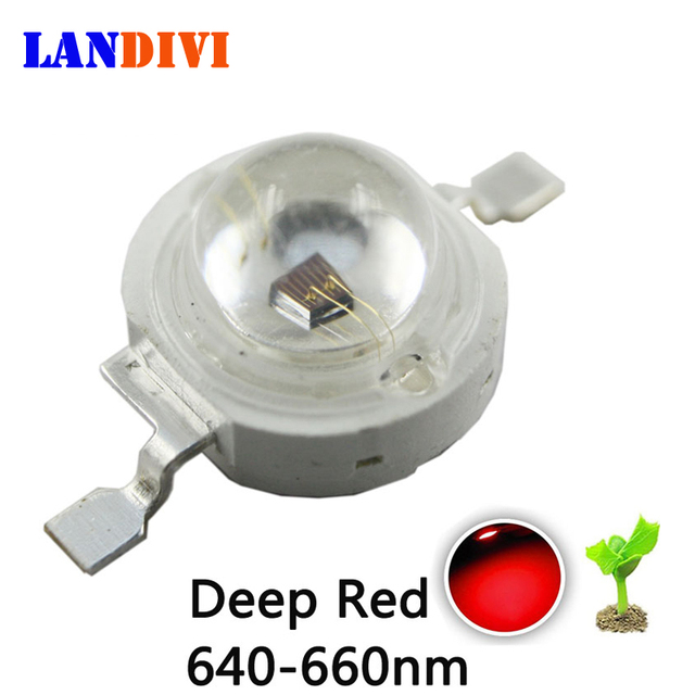 Deep Red 3w led chip 660nm 50pcs led  Diodes 3w high power LED chip red  660nm emitting diode for Plant fill light