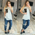 2016 Verão Harajuku Estilo Mulheres camiseta Moda Cinza Roupas Casuais longo T camisa Tops Tees Plus Size Tops Soltos camisetas mujer