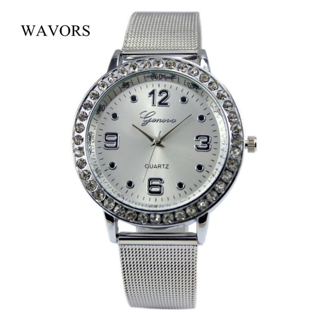 Fashion Silver Stainless Steel Watch Women Ladies Quartz Wristwatch Luxury Rhine