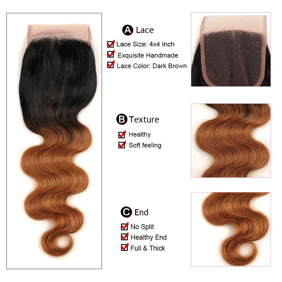 Светлые волосы Тело Волна 3 Комплект s с закрытием T1B/30 эффектом деграде (переход от темного к бразильские волосы категории virgin Комплект с закрытием Сияющая Звезда Non волосы Remy 10-26 дюймов