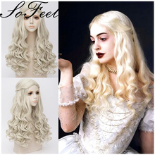 Sofeel synthetic wigs Alice in Wonderland The White Queen women long blonde curly hair peruca sintetica ladies wigs