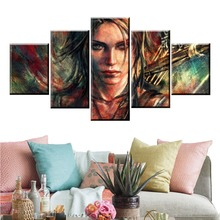 5 Panel Tomb Raider Lara Croft Game Canvas Printed Painting For Living Room Wall Art Home Decor HD Picture Artwork Modern Poster цена