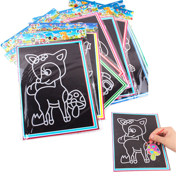 1 pcs Black Cardboard Draw Paper Sketch Kids Scraping Painting Scratch Education Learning Toys For Children image