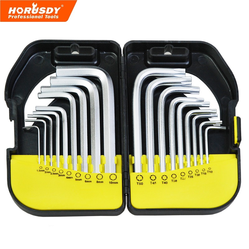 цена на 18 in 1 CR-V Long Arm Hex Key Wrench Set Durable Reinforced SAE Metric Torx Allen L Wrench