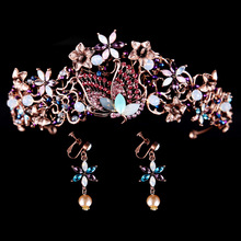 New Fashion Baroque Butterfly Flower Rhinestone Tiaras Bride Crown Earring Hair Jewelry Wedding Hair Accessories bijoux cheveux