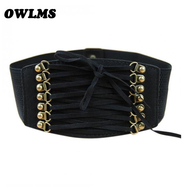 Free Shipping New Popular Cummerbunds Elastic Bow Rope Trench Velvet Vintage Rivet Tassel Wide Cummerbund Waist Belt Female Lady