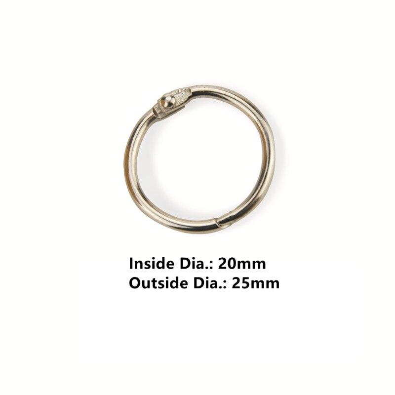50pcs/Lot 20mm Metal Loose Leaf Book Binder Hinged Rings Keychain Album Ring Scrapbook Binders Craft Photo Album Split