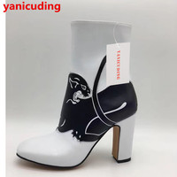 Yanicudingホットラウンドつま先黒動物パターンデザイン女性ブーツジッパー靴ヒョウファッション半ばふくらはぎショートブーツブロックヒー