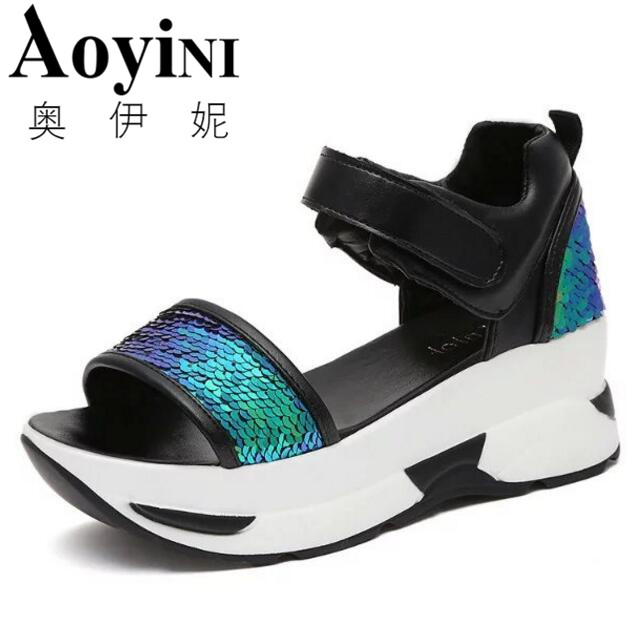 Platform Sandals Women 2018 Summer Shoes Woman Soft Leather Casual Open Toe Gladiator Shoes Women Shoes Women Wedges Sandals mabaiwan women shoes genuine leather summer sandals casual platform wedge shoes woman rivets gladiator wedges breathable sandal