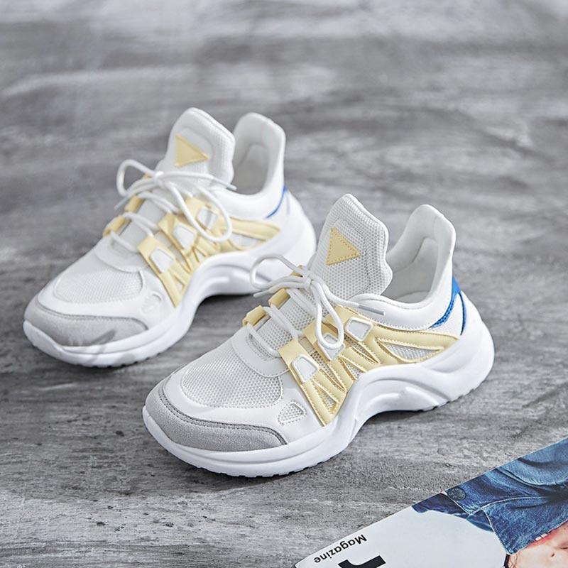 2018 Nouveau Printemps Automne Dames Chaussures Casual Chaussures Haute Plate-Forme Chaussures Femmes Sneakers