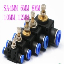 купить throttle valve SA 4-12mm Air Flow Speed Control Valve Tube Water Hose Pneumatic Push In Fittings дешево