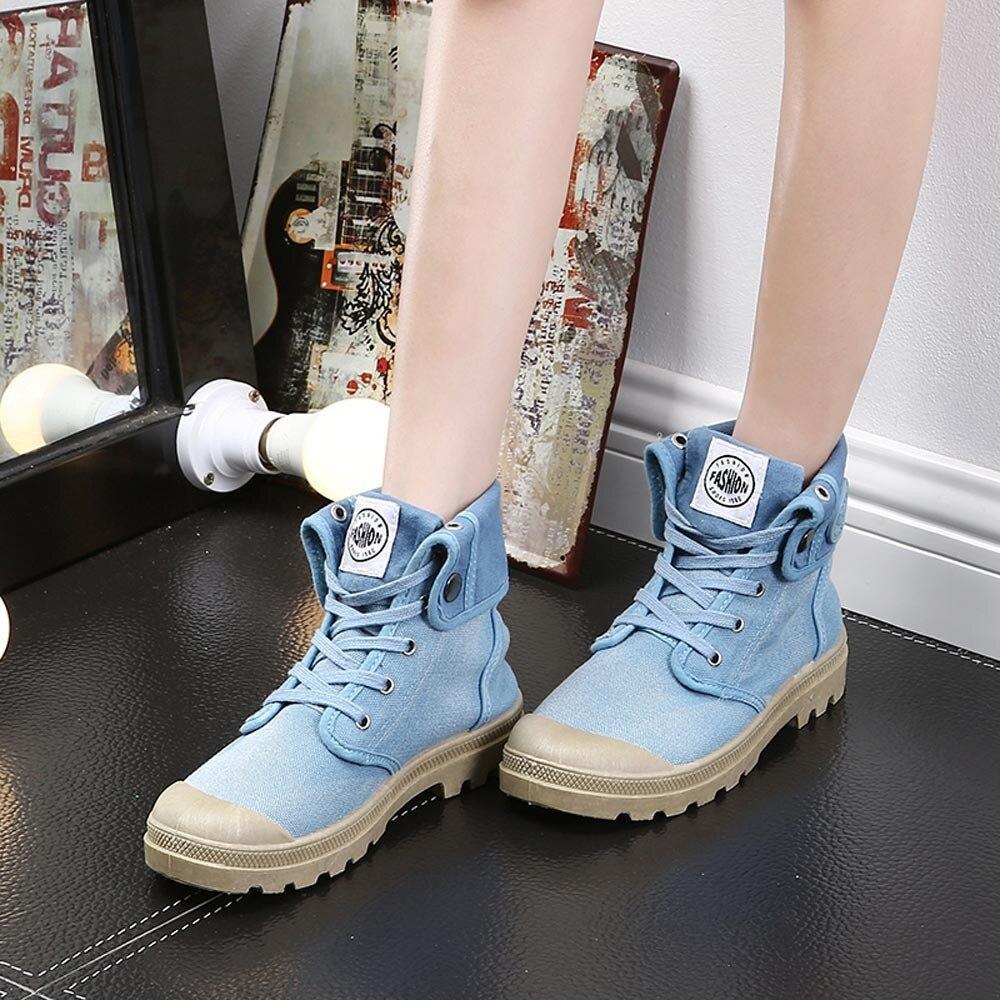 2fc92ad64d4af8 Muqgew Bottes bleu Mode Militaire Femmes kaki Palladium Noir top Femme  Cheville Casual rose Chaussures Haute Style xxqRO5rw