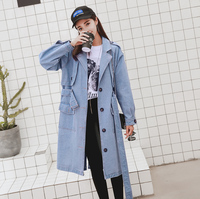 female 2017 New Spring Long Denim Jacket Women Vintage Casual Loose Single Breasted Jeans Coat Jacket Outwear Plus Size