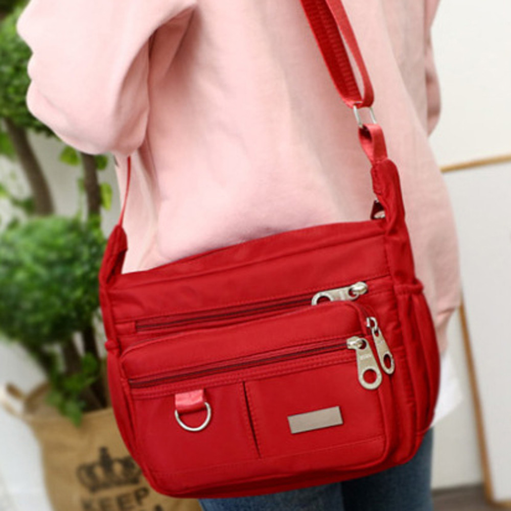 Women Fashion Solid Color Zipper Waterproof Nylon Shoulder Bag  Handbags,Shoulder Bag purple 25cm*19cm*9cm 28