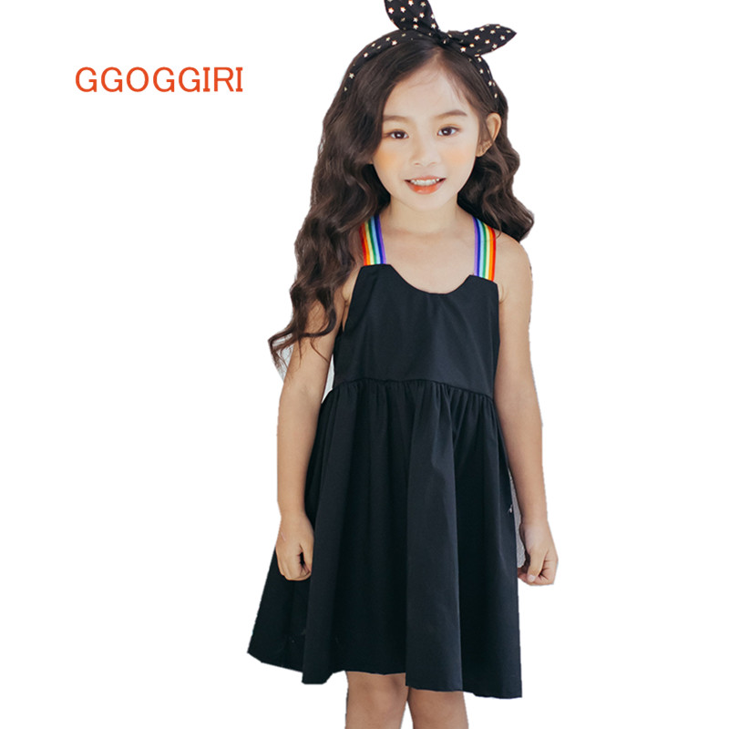 GGOGGIRI Brand Big Chlidren Clothing New Girls Summer Fashion Rainbow Braces Cotton Quality Mini Causal Sleeveless Dresses