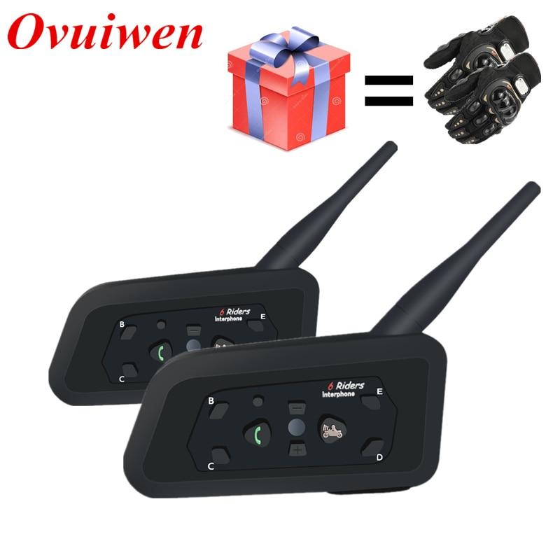 2 stücke V6 Motorrad Bluetooth Helm Headsets Intercom für 6 Fahrer BT Wireless Intercomunicador Sprech MP3 Bluetooth Headset