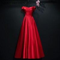 Satin Off The Shoulder Prom Dresses Burgundy Gala Jurken Floor Length Vestido De Festa Elegant Prom Dress Women Evening Dress